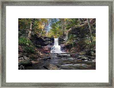 A Touch Of Autumn At Sheldon Reynolds Falls Framed Print by Gene Walls