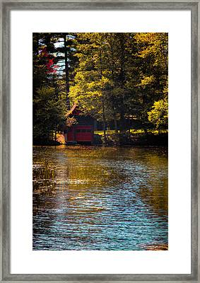 A Touch Of Autumn At The Red Boathouse Framed Print by David Patterson