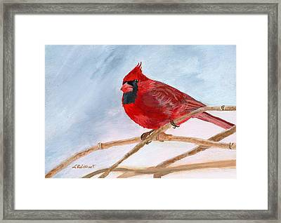 Framed Print featuring the painting A Touch Of Red by Lynne Reichhart