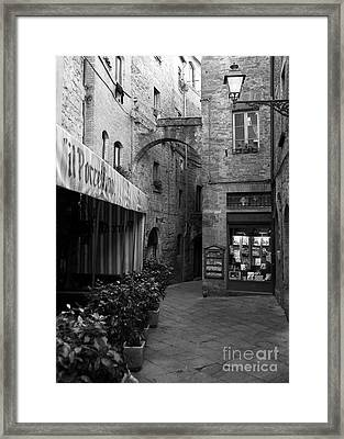 A Town In Tuscany Bw Framed Print