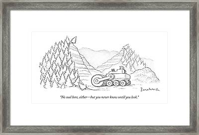 A Tractor Razes Thousands Of Trees Framed Print by David Borchart