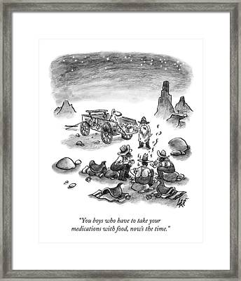 A Trail Cook Speaks To Three Prospectors Framed Print