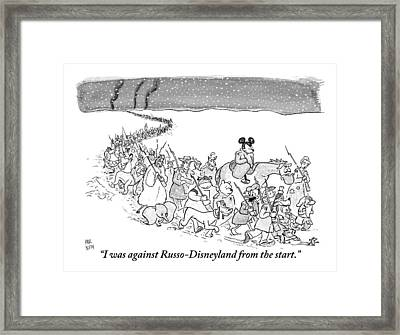 A Trail Of People And Disney Characters March Framed Print
