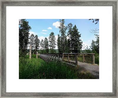 A Trail's Footbridge Framed Print by Lizbeth Bostrom