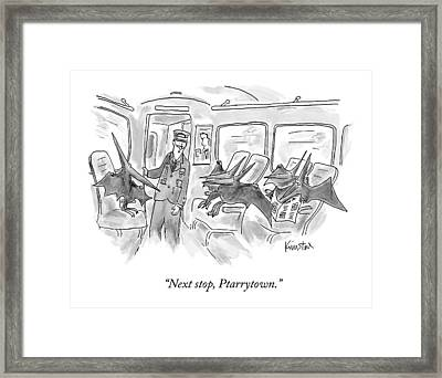 A Train Conductor Makes An Announcement To A Car Framed Print by Ken Krimstein