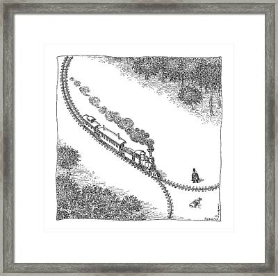 A Train Heads Toward A Tied Up Victim Traveling Framed Print