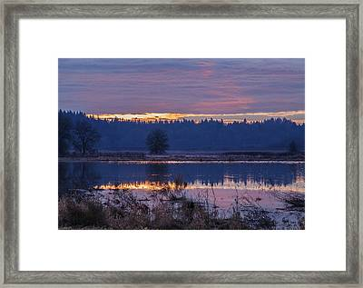 A Tranquil Sunrise Framed Print by Angie Vogel