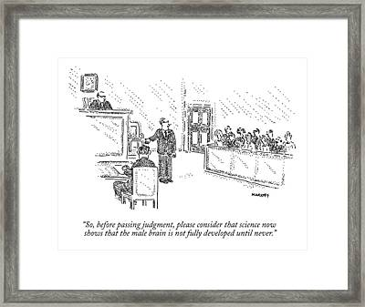 A Trial Lawyer Addresses A Grand Jury Framed Print