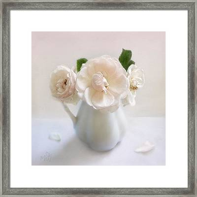 A Trio Of Pale Pink Vintage Roses Framed Print