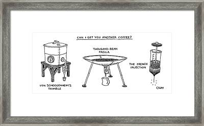 A Triptych Of Eccentric Coffee Devices Framed Print