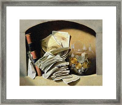A Trompe Loeil Of Paper Money Coins Framed Print
