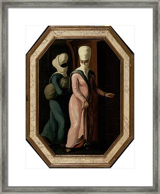 A Turkish Lady Going With Her Slave To The Bath Framed Print