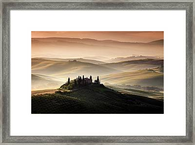 A Tuscan Country Landscape Framed Print