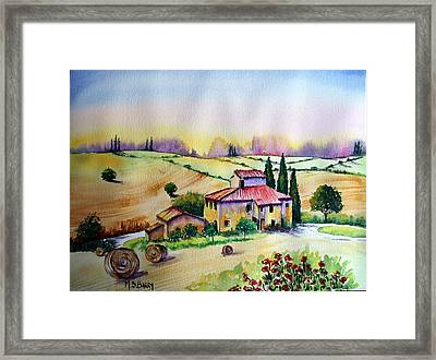 A Tuscann Farmhouse Framed Print by Maria Barry