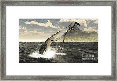 A Tylosaurus Jumps Out Of The Water Framed Print by Arthur Dorety