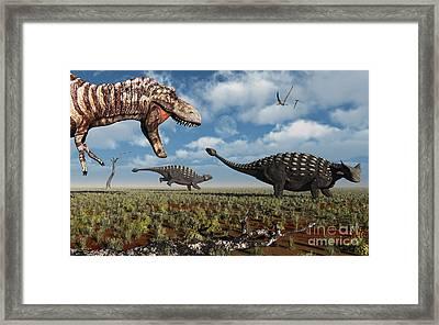 A Tyrannosaurus Rex Hunting Down A Pair Framed Print