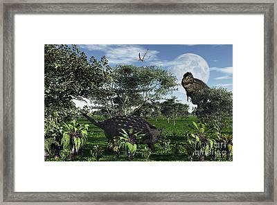 A Tyrannosaurus Rex Stalking Framed Print