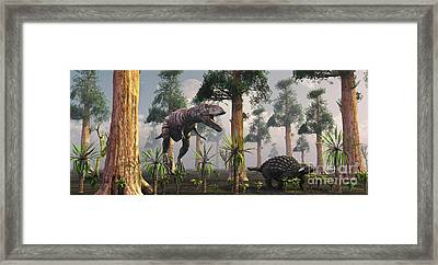 A Tyrannosaurus Rex Tracking Framed Print