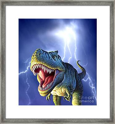 A Tyrannosaurus Rex With A Blue Stormy Framed Print