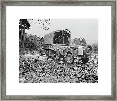 A U.s. Military Truck With Wrecker Framed Print