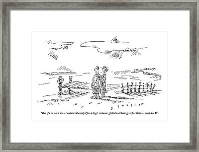 A Vacationing Couple Stands On A Beach Framed Print by Barbara Smaller