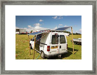 A Van With Solar Panels Attached Framed Print by Ashley Cooper