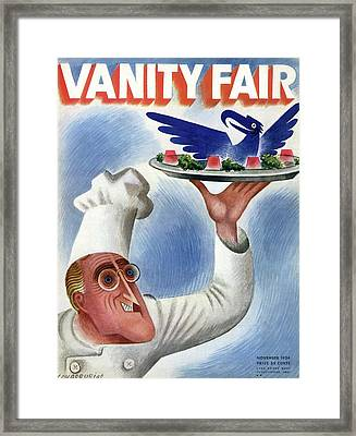 A Vanity Fair Cover Of Roosevelt At Thanksgiving Framed Print by Miguel Covarrubias