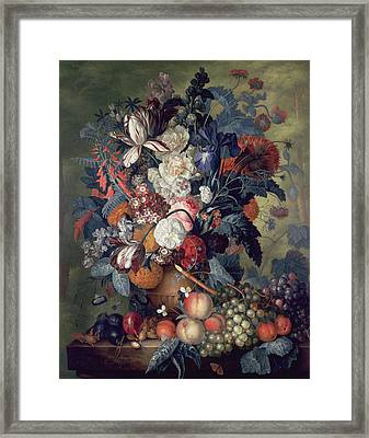 A Vase Of Flowers With Fruit Framed Print