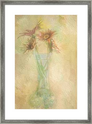 A Vase Of Gerbera Daisies In The Sun Framed Print