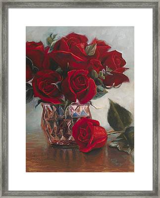 A Vase Of Love Framed Print by Lucie Bilodeau