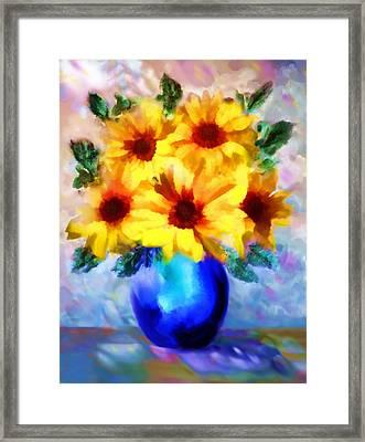 A Vase Of Sunflowers Framed Print