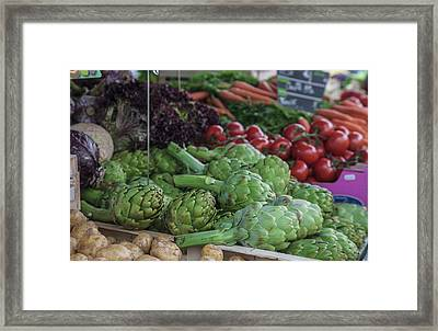 A Vegetable Stand In The Outdoor Market Framed Print by Mallorie Ostrowitz