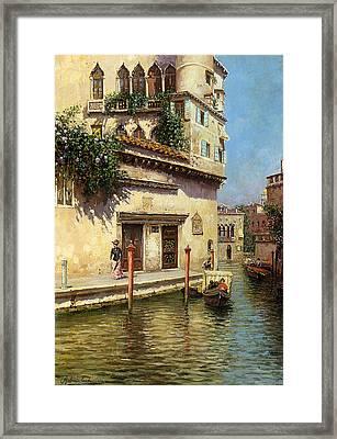 A Venetian Backwater Framed Print by Rubens Santoro