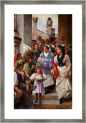 A Venetian Christening Party, 1896 Framed Print by Henry Woods