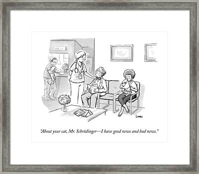 A Veterinarian Confronts A Man In The Waiting Framed Print