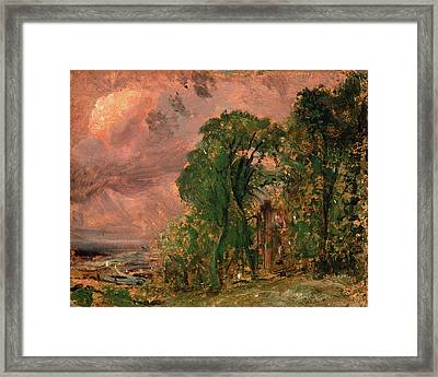 A View At Hampstead With Stormy Weather Hampstead Framed Print by Litz Collection