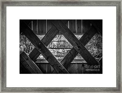 A View From An Old Covered Bridge In Vermont Framed Print by Edward Fielding