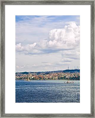 A View From Topkapi Palace Towards The Maiden Tower Framed Print