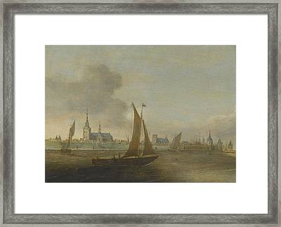 A View Of A Walled City On An Estuary Framed Print by Celestial Images