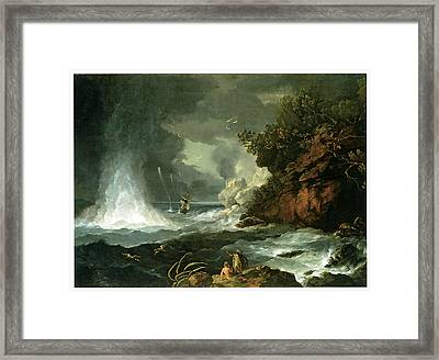 A View Of Cape Stephens In Cook's Straits With Waterspout Framed Print by William Hodges