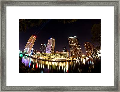 A View Of Tampa And The Hillsborough River Framed Print by Daniel Woodrum
