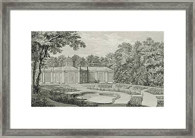 A View Of The Aviary And Flower Garden At Kew Framed Print by Thomas Sandby