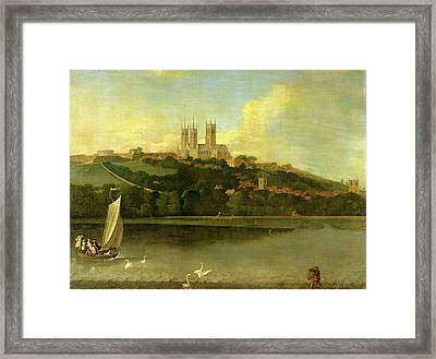 A View Of The Cathedral And City Of Lincoln From The River Framed Print by Litz Collection