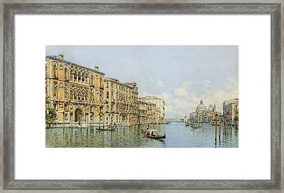 A View Of The Grand Canal With Palazzo Framed Print