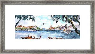 Framed Print featuring the painting A View Of The Historical Peninsula From Uskudar - Istanbul by Faruk Koksal