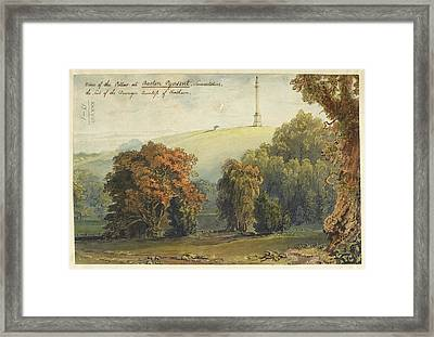 A View Of The Pillar At Burton Pynsent Framed Print by British Library