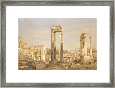 A View Of The Roman Forum With Oxen And Carts Framed Print