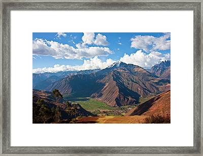 A View Of The Sacred Valley And Andes Framed Print by Miva Stock