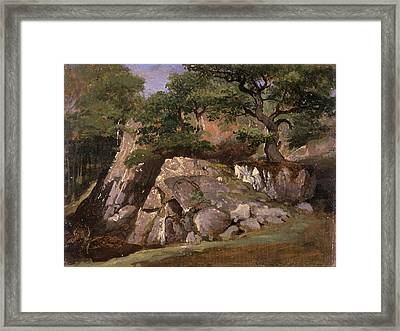 A View Of The Valley Of Rocks Near Mittlach Alsace Framed Print by Litz Collection