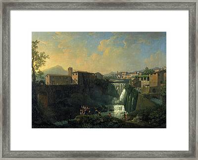 A View Of Tivoli Rome Italy Signed In Yellow Paint Framed Print